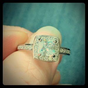 Rhodium white ice ring size 9